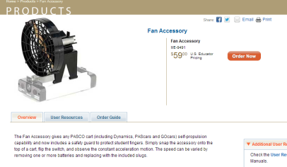 Screencap of the product page