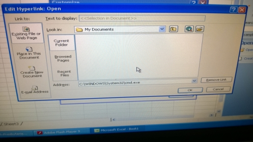 Empty My Documents folder, with path to CMD.exe manually entered.